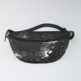 Abstract steel pattern of soap bubbles and gears in chrome decoration on a black background. Fanny Pack