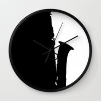 saxophone Wall Clocks featuring Saxophone by Macrobioticos