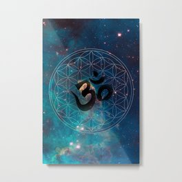 Om & Flower of Life Metal Print