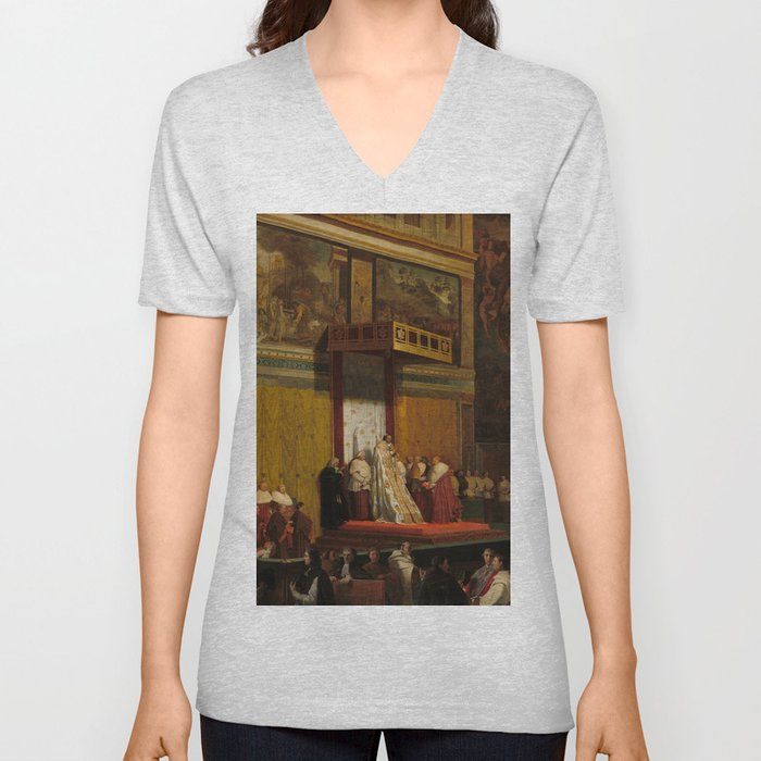 Pope Pius VII in the Sistine Chapel Oil Painting by Jean-Auguste-Dominique Ingres Unisex V-Neck
