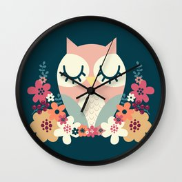 Floral Owl / Cute Animal Wall Clock