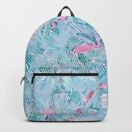 abstract 2, light blue with pink pattern Backpack