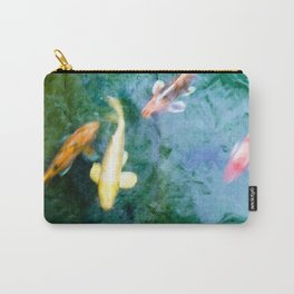 Zen Jewel Toned Koi Fish Turquoise Pond Water Photograph Carry-All Pouch