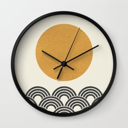 Sun & Wave - Oriental Pattern Wall Clock