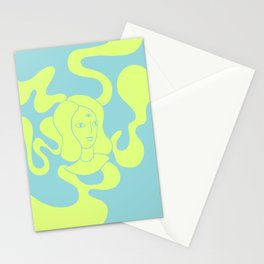 Abstract Psychedelic Illustration, Girl with a Third Eye, Green and Blue Liquid Smoke Drawing Stationery Cards