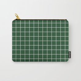 Cal Poly Pomona green - green color - White Lines Grid Pattern Carry-All Pouch