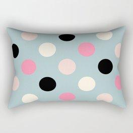 Geometric Orbital Spot Circles In Pink Black White & Green Rectangular Pillow