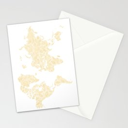 Floral watercolor world map in cream and light brown, Remy, no labels Stationery Cards