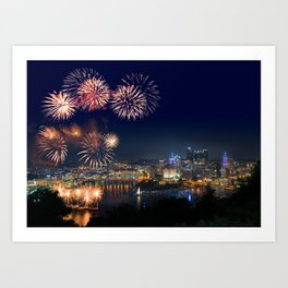 Fireworks over Pittsburgh on 4th July Art Print