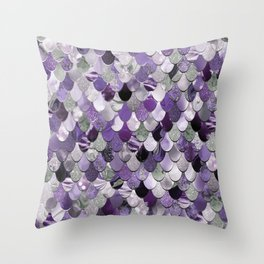 Mermaid Purple and Silver Throw Pillow