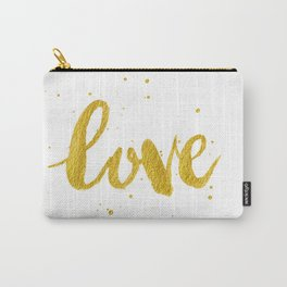 Love Calligraphy Writing in Gold Carry-All Pouch