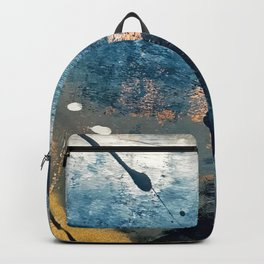 Wander [2]: a vibrant, colorful, abstract in blues, pink, white, and gold Backpack