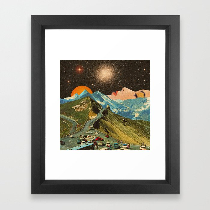 Face on the mountain Framed Art Print