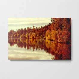 RIVER AUTUMNAL REFLECTION Metal Print