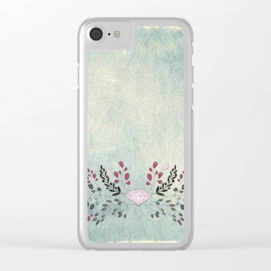 Diamonds and flowers - Floral watercolor illustration Clear iPhone Case