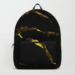 Black faux marble gold accents Backpack