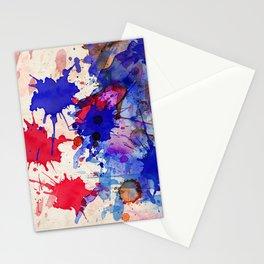Blue & Red Color Splash Stationery Cards