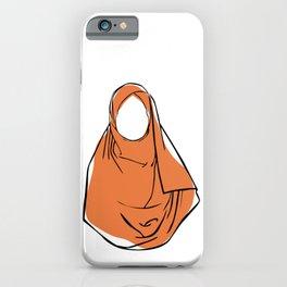 Hijab Woman 03, single line art colored set iPhone Case