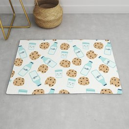 Milk and cookies pattern white cute kids decor boys or girls room design Rug