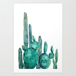 cactus jungle watercolor painting Art Print