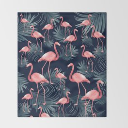 Summer Flamingo Palm Night Vibes #1 #tropical #decor #art #society6 Throw Blanket