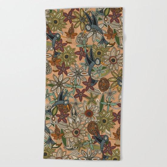 nectar bird garden peach Beach Towel