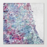 chicago map Canvas Prints featuring Chicago map by MapMapMaps.Watercolors