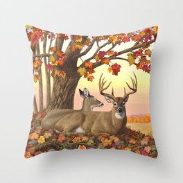 Whitetail Deer Doe & Trophy Buck Maple Trees Fall Colors Throw Pillow