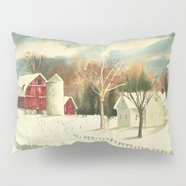 Homestead // Watercolor Painting // Red Barn, Rural Midwest Pillow Sham