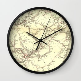 Vintage New Jersey Railroad Map (1869) Wall Clock