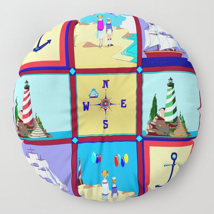 Another Nautical Quilt but with Compass Rose Floor Pillow