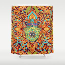 Colorful  Hamsa Hand -  Hand of Fatima Shower Curtain