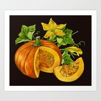 pumpkin Art Prints featuring Pumpkin by ElenaTerrin