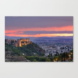 The alhambra and Granada city at sunset Canvas Print
