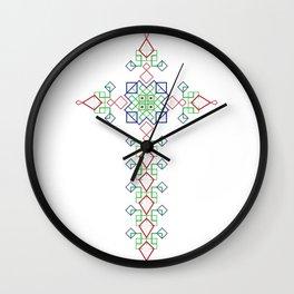 Habesha Cross Eritrea Ethiopia Traditional Dress Wedding design Wall Clock