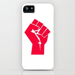 Raised fist, black power, fight for your rights (red version) iPhone Case