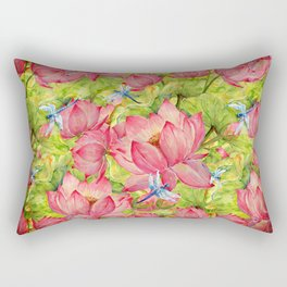 Floral Lotus Flowers Pattern with Dragonfly Rectangular Pillow
