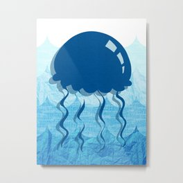 Salty Kisses and Starfish Wishes Set Jellyfish Metal Print