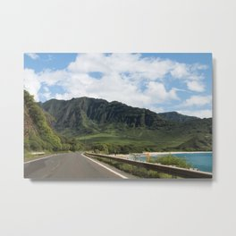 Mountain Road in Oahu, Hawaii Metal Print