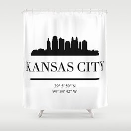 KANSAS CITY BLACK SILHOUETTE SKYLINE ART Shower Curtain