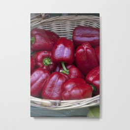 Spicy Red Peppers Metal Print