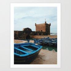 Blue Boats in Essaouira Art Print