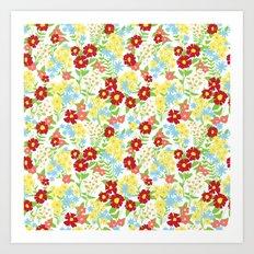 White Floral Pattern Art Print