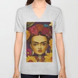 Frida Flowers Unisex V-Neck
