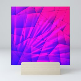Bright fragments of crystals on irregularly shaped blue and violet triangles. Mini Art Print