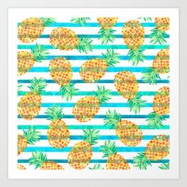 Pineapple Sea Stripes Art Print