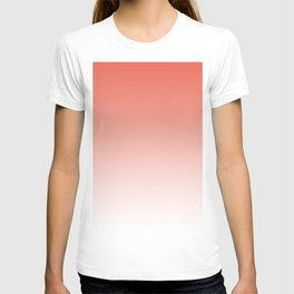 Pantone Living Coral Gradient Ombre to White Design T-shirt