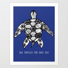 Sea Turtles for Safe Sex Art Print