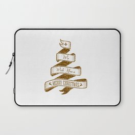 Merry Christmas- Glitter Gold Xmas Typography Laptop Sleeve