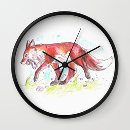 Autumn Fox Wall Clock